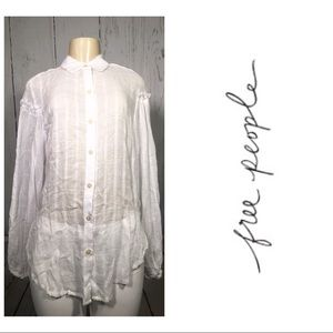 Free People White Button Down Blouse Top Small